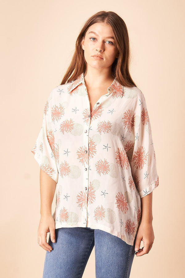 Symbology Seascape Silk Blouse in Cream + Rose Tops Symbology