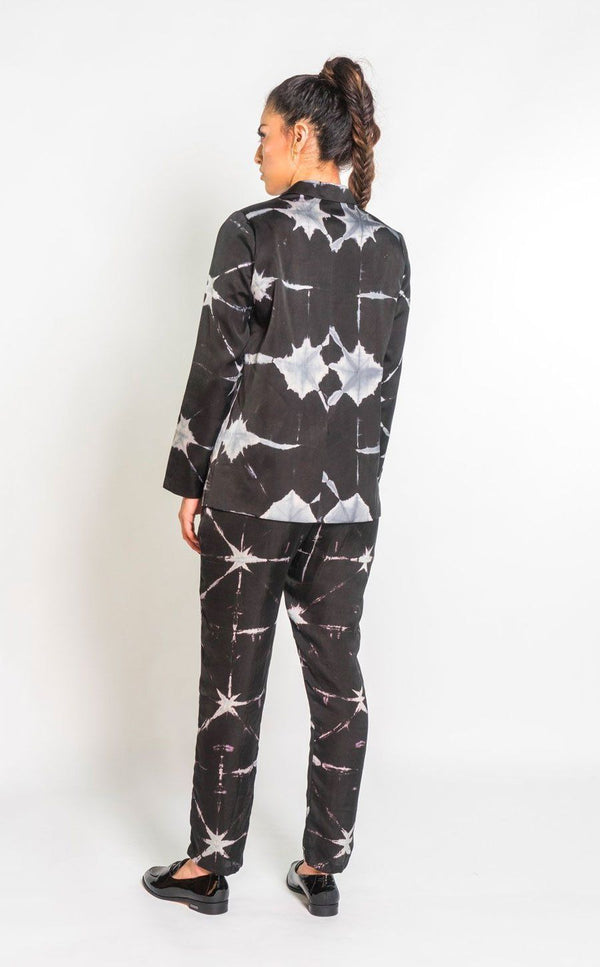 Symbology Silk Suit in Black & Grey Tie Dye Jumpsuits Symbology