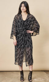 Symbology Stylized Feather Kimono Twist Black + White Dresses Symbology-11803657404479