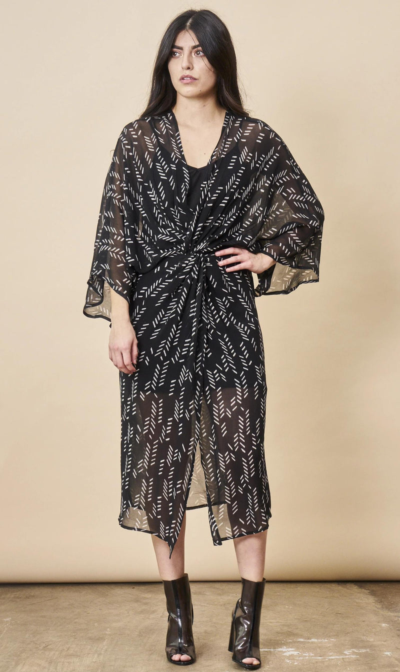 Symbology Stylized Feather Kimono Twist Black + White Dresses Symbology