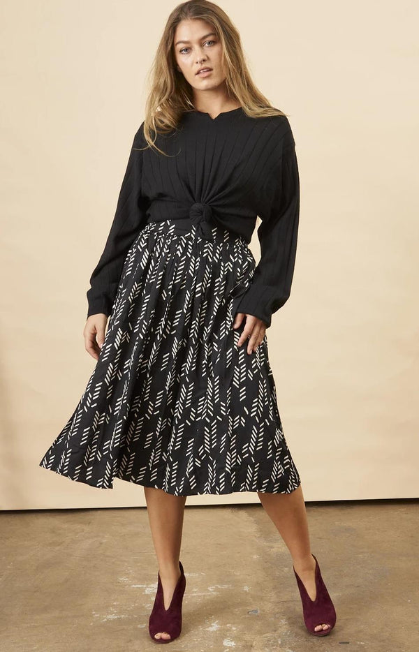 Symbology Stylized Feather Midi Skirt Black & Cream Bottoms Symbology