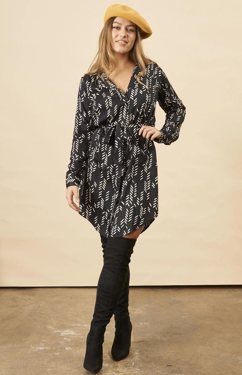 Symbology Stylized Feather Shirtdress in Black + Cream Dresses Symbology
