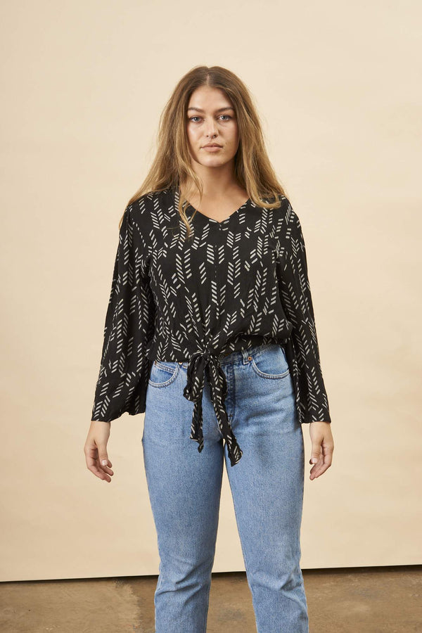 Symbology Stylized Feather Tie Knot Blouse in Black + Cream Tops Symbology