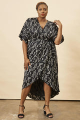 Symbology Stylized Feather Wrap Dress in Black + Cream Dresses Symbology-11803700035647