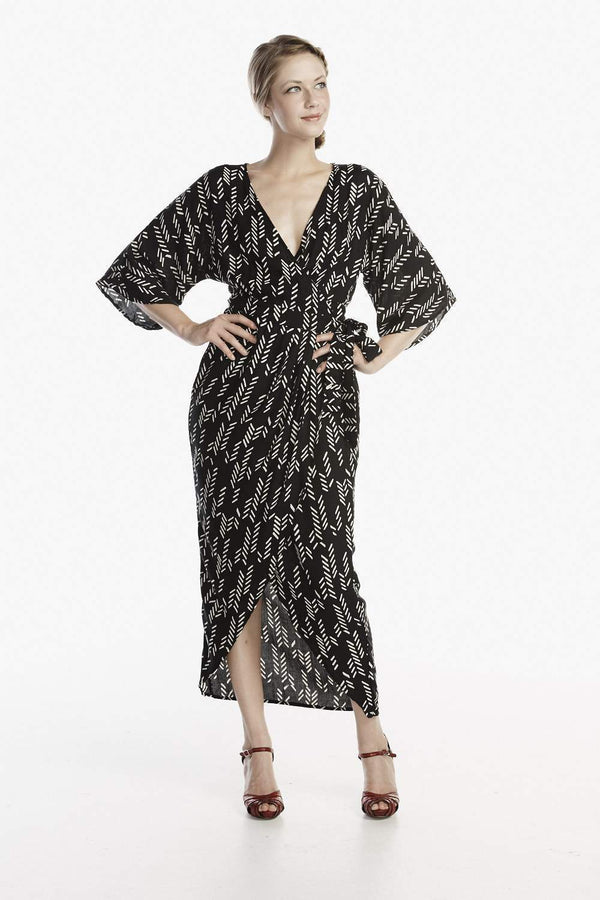 Symbology Stylized Feather Wrap Dress in Black + Cream Dresses Symbology