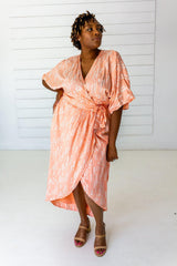 Symbology Stylized Lavender Maxi Wrap in Peach & Cream Dresses Symbology-14939806957631
