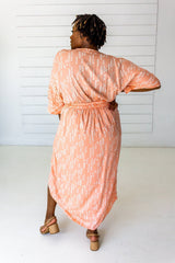 Symbology Stylized Lavender Maxi Wrap in Peach & Cream Dresses Symbology-14939791982655