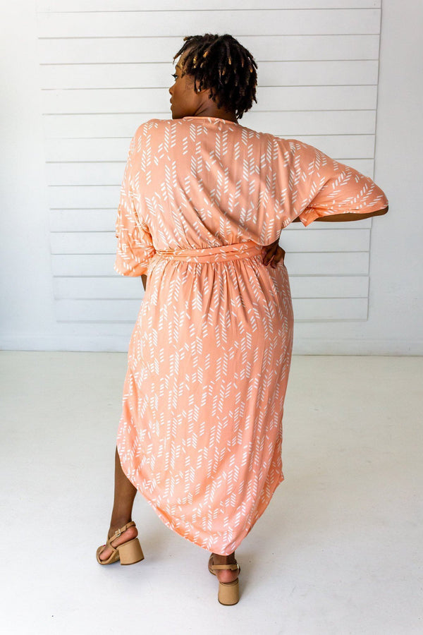 Symbology Stylized Lavender Maxi Wrap in Peach & Cream Dresses Symbology