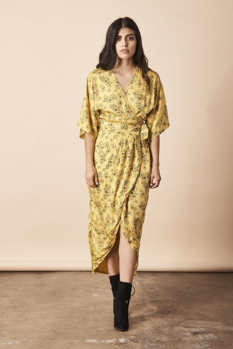 Symbology Tattoo Floral Modal Maxi Wrap - Citron and Black Dresses Symbology