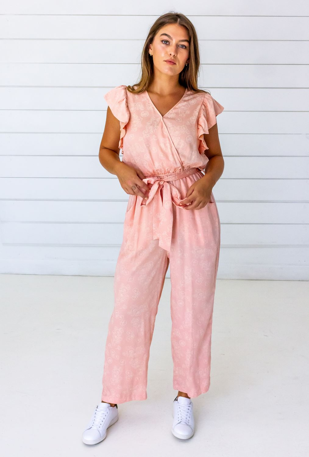 Symbology Tattoo Floral Modal Ruffle Jumpsuit - Blush and Cream Jumpsuits Symbology