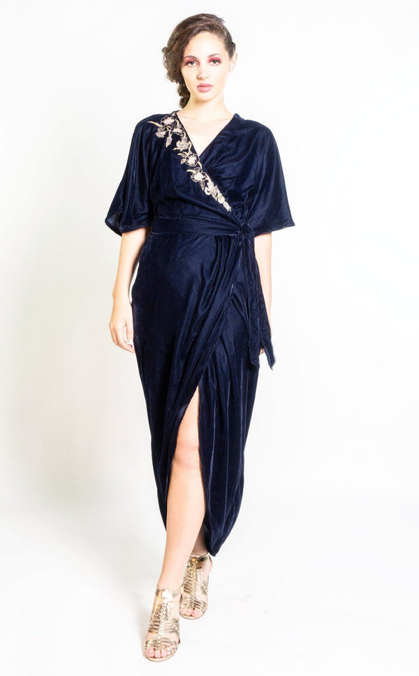 Symbology Velvet Embroidered Kimono Wrap Dress in Midnight Blue Dresses Symbology