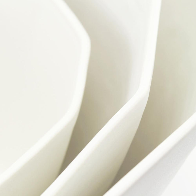 The Bright Angle Nesting Bowl Set - Silk White Satin Matte Tableware The Bright Angle