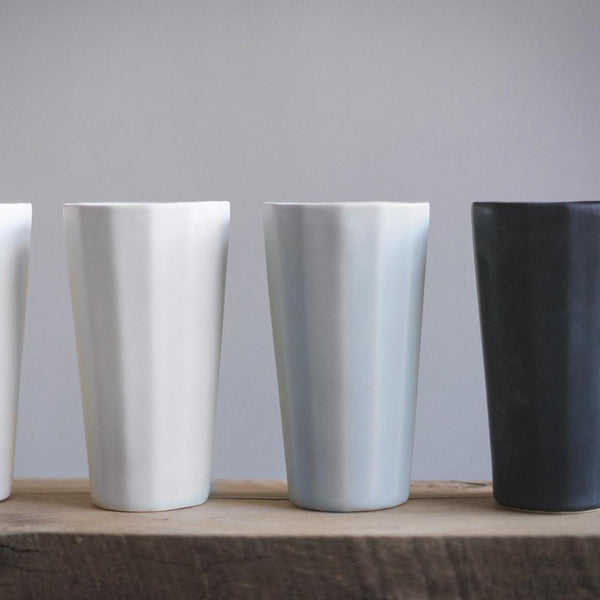 The Bright Angle Porcelain Pint Cup - Smoke Gray Satin Matte Tableware The Bright Angle