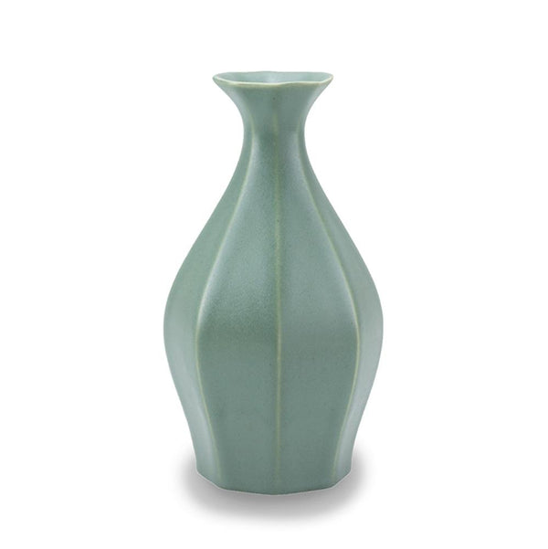 The Bright Angle Table Vase - Rosemary Green Satin Matte Vase The Bright Angle