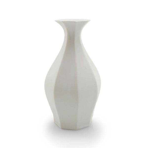 The Bright Angle Table Vase - Silk White Satin Matte Vase The Bright Angle