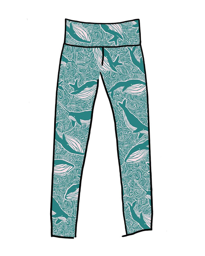 Thunderpants USA Women's High Rise Leggings Marine Whales Leggings Thunderpants USA