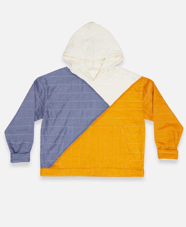 Unisex Organic Cotton Patchwork Hoodie - Mustard Anchal Project