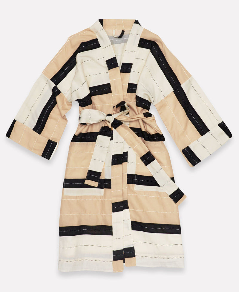 Unisex Organic Cotton Stripe Robe - Ivory Anchal Project