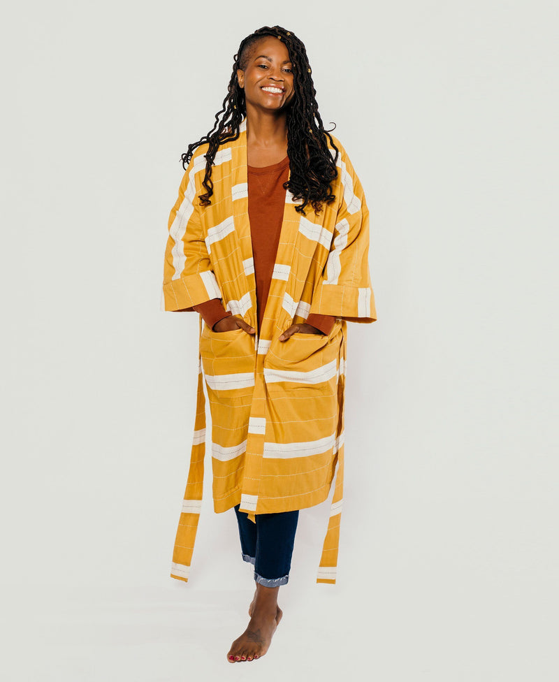 Unisex Organic Cotton Stripe Robe - Mustard Anchal Project