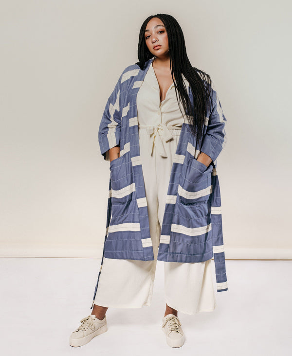 Unisex Organic Cotton Stripe Robe - Slate Anchal Project