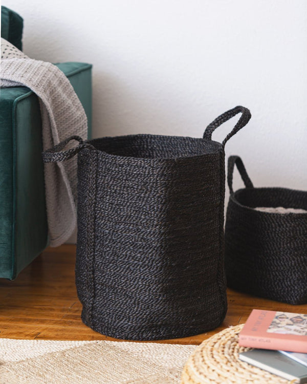 Will & Atlas Jute Laundry Basket - Charcoal Home Decor Will & Atlas
