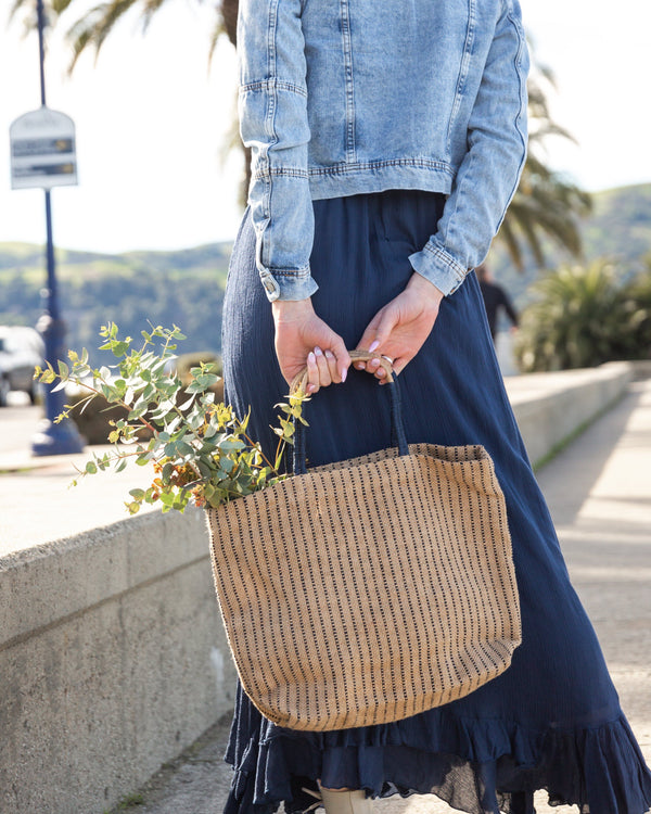 Will & Atlas Jute Shopper - Indigo Stripes Bags Will & Atlas