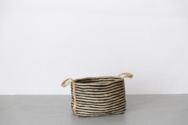 Will & Atlas Large Jute Basket - Charcoal Stripe Will & Atlas