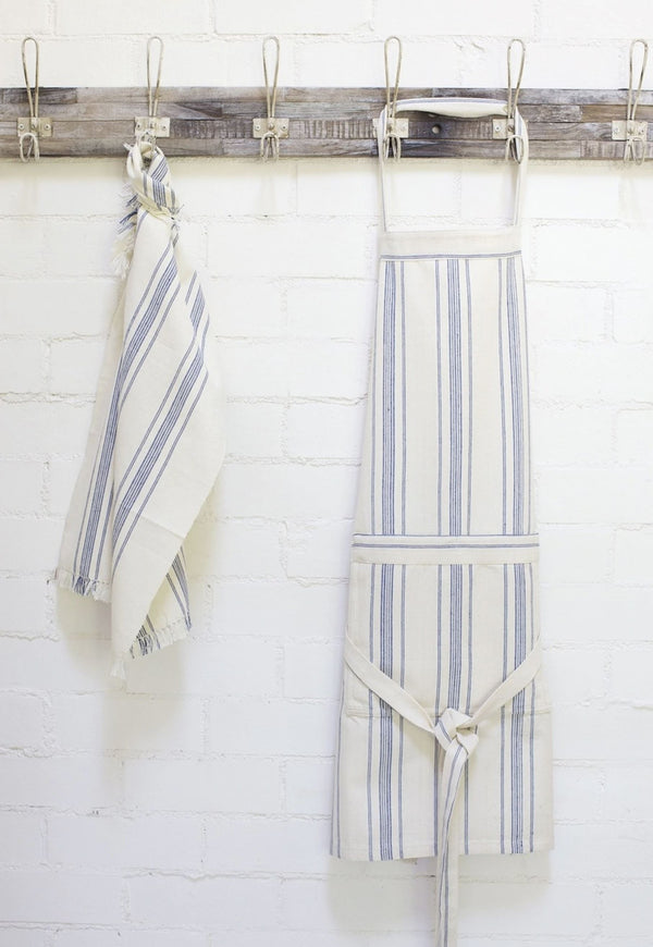Will & Atlas Natural Cotton Apron - Blue Stripe Will & Atlas