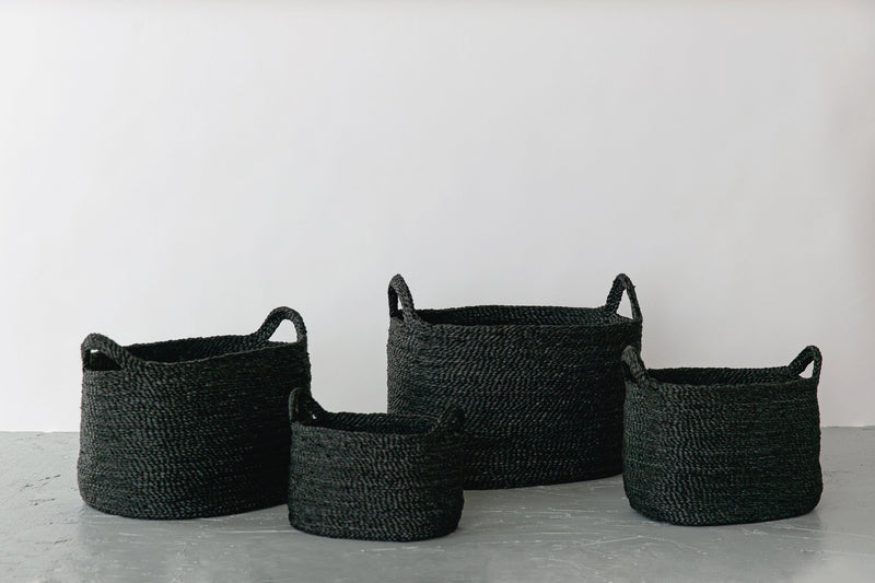 Will & Atlas Oval Jute Baskets - Charcoal Will & Atlas