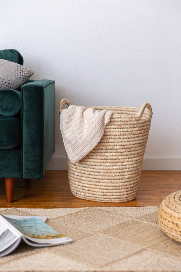 Will & Atlas Palm Leaf Laundry Basket - Round Will & Atlas