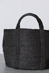 Will & Atlas Round Jute Basket with Handles - Charcoal Home Decor Will & Atlas -14900626686015