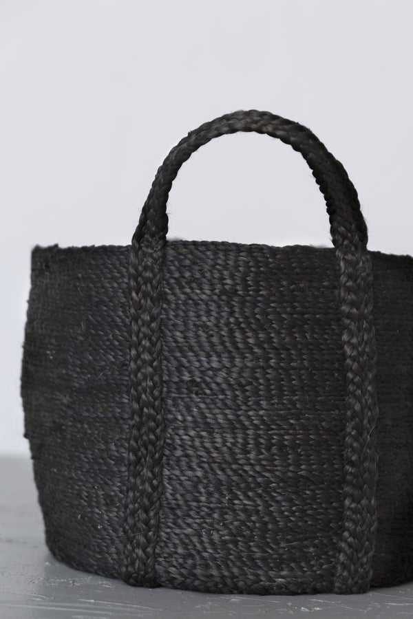 Will & Atlas Round Jute Basket with Handles - Charcoal Home Decor Will & Atlas