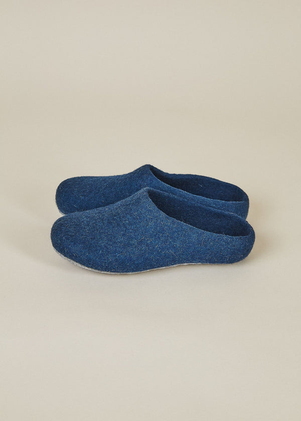 Women's Classic Low Back Wool Slippers - Heathered Navy Women's Shoes Kyrgies