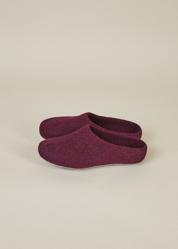 Women's Classic Low Back Wool Slippers - Plum House Shoes Kyrgies