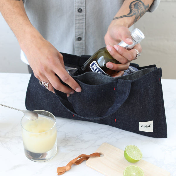 Zero Waste Vin One Bottle Wine Tote - Denim Wine Tote Aplat
