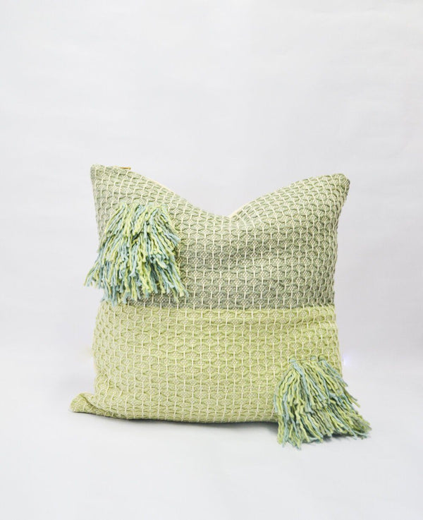 Zuahaza Diamond Feijoa Green Pillow with Tassels Zuahaza