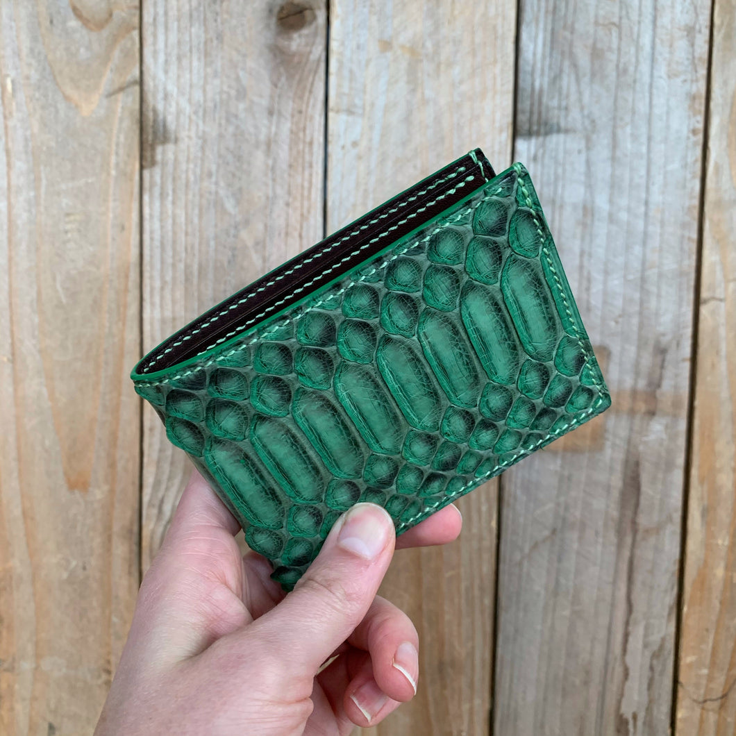 Green | Python Skin Leather Bifold Wallet