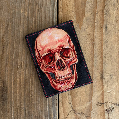 Red Skull | Hand-tooled Leather Card Wallet