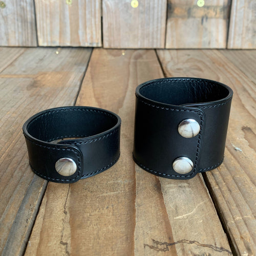 "Italian Leather Snap Cuff | 1"" and 2"