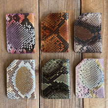 Python Leather Folded Micro Card Holders