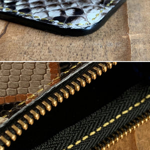 Gold Natural | Mystery Python Leather Small Zipper Pouch