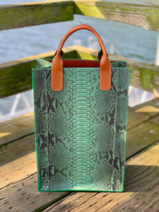 Green | Python Skin Leather Shopper Tote
