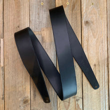 Black | Italian Leather Fixed Length Guitar Strap