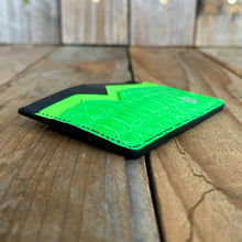 Black & Lime | Alligator Bum and Kangaroo Leather Card Wallet