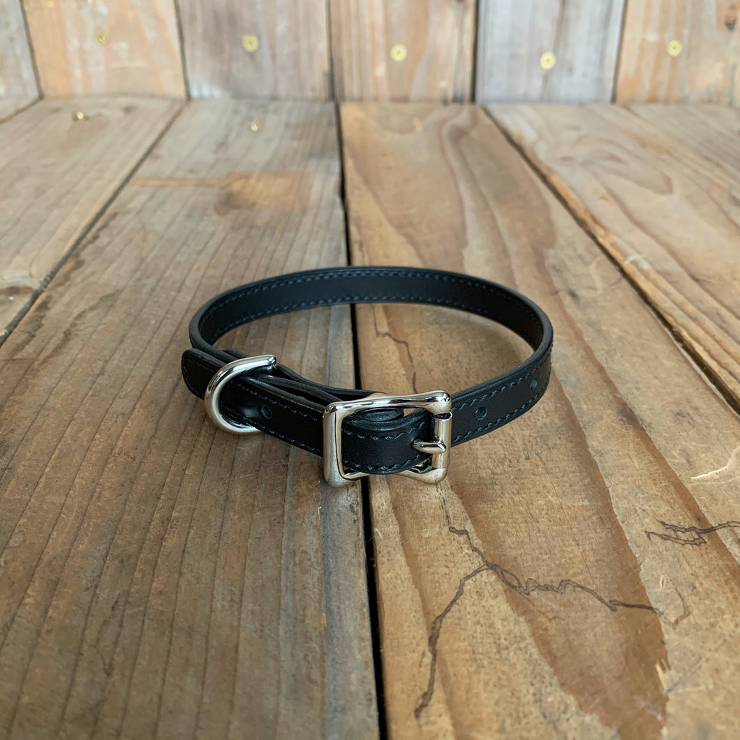 "Italian Leather Dog Collar | 1/2"" Buckle 