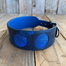 Blue | Ring Lizard Skin and Leather Dog Collar