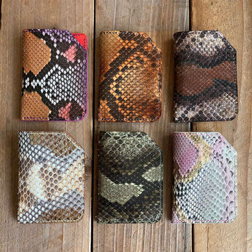 Mystery Python Leather Folded Micro Card Holders | Special Pricing!