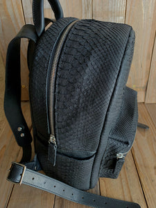 Black | Python Skin and Horsehide Backpack