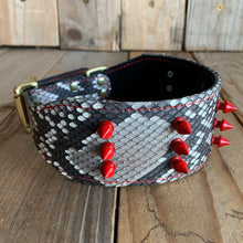 Natural | Spiked Python Skin Dog Collar with Kangaroo Leather Lining