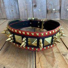 Red & Black | Spiked Kangaroo Leather Dog Collar